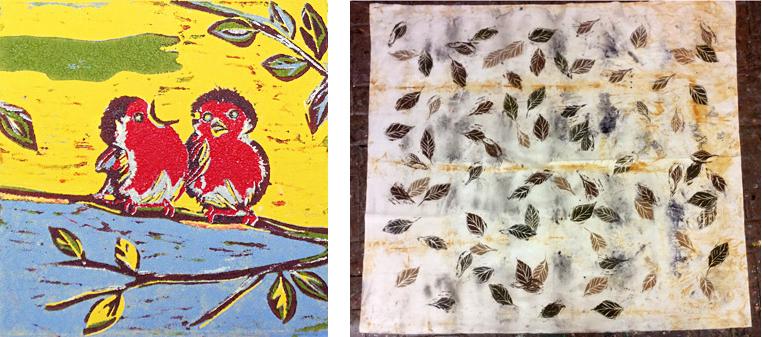 Cursussen linosnede op papier en textiel