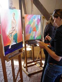 Naaktmodel man schilderen Wageningen